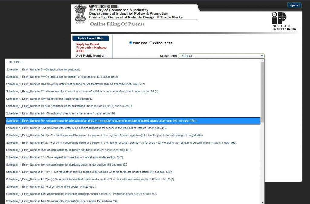 Indian Patent Office efiling forms